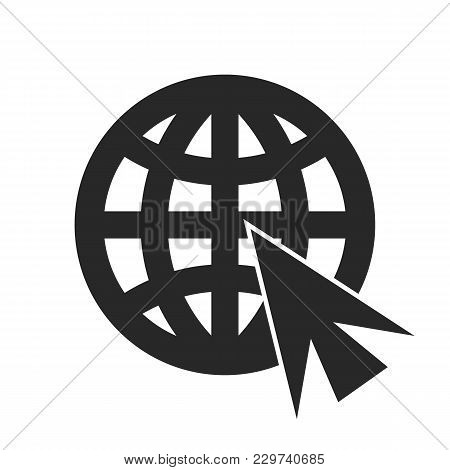 Go To Web Icon In Trendy Flat Style Isolated On Grey Background. Website Pictogram. Internet Symbol