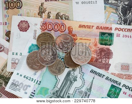 Coins And Bills Of Different Denominations Of The Russian Federation