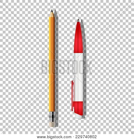 Vector Realistic Ballpoint Pen And Pencil Isolated On Transparent Background