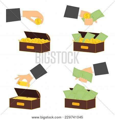 Businessman Keeps And Puts In A Box Bank Notes Money And Gold Coins. Investments, Financial Success