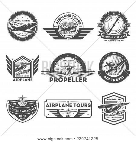 Airplane Vintage Isolated Label Set Illustration. Wind Riders Show And Best Pilot Symbols. Airplane