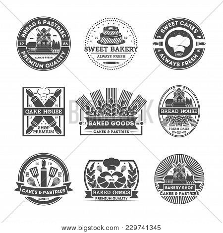 Bakery Shop Vintage Isolated Label Set. Bread And Cake House Symbols. Sweet Bakery Icon. Premium Qua