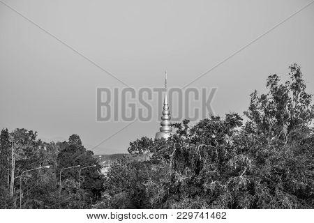 Pagoda With Tree And Sky, Black And White Tone, Wat Lahan Rai, Rayong, Thailand