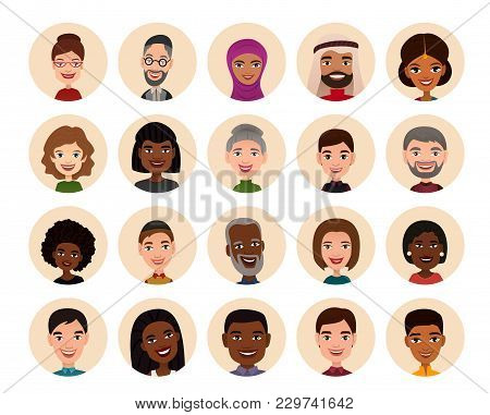 Happy People Round Avatar Icon Set Illustration. Smiling Men And Women Of Different Nationalities, P
