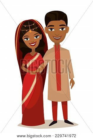 Happy Indian Young Family Couple In National Dress Isolated Illustration. Smiling Boyfriend And Girl