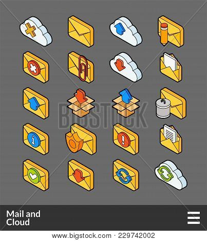 Isometric Outline Color Icons, 3d Pictograms Vector Set - Mail And Cloud Symbol Collection