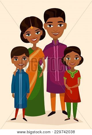 Happy Indian Family Couple With Children Isolated Illustration. Husband, Wife, Daughter And Son In N
