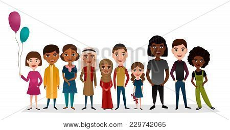 Group Of Smiling Children Different Nationalities Isolated Illustration. Little Boy And Girl In Nati