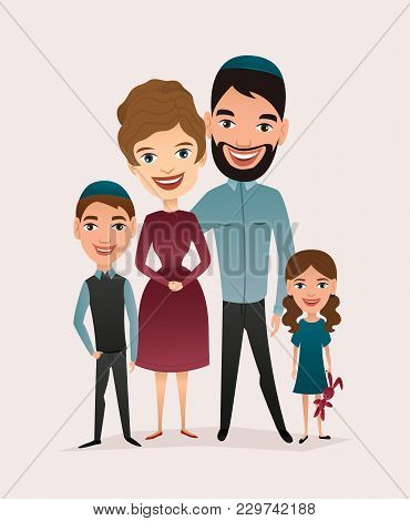 Happy Jewish Family Couple With Children Isolated Illustration. Husband, Wife, Daughter And Son Cart