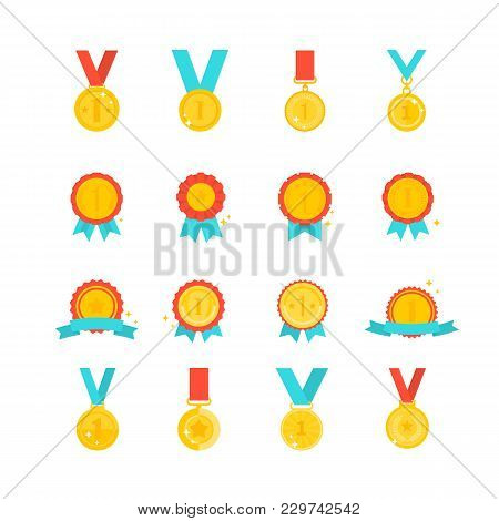 Gold Medal Award Collection Isolated On White Background Flat Design. First Place Leadership Award G