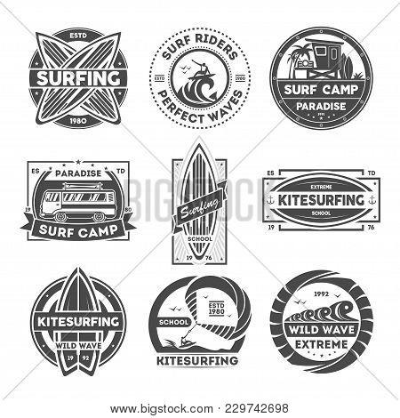 Surfing Camp Vintage Isolated Label Set Illustration. Kitesurfing School Symbol. Wild Wave Icon. Sur