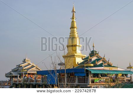 Golden Pagoda Is Located On The High Hill As A Religious Temple Of The Thai People.