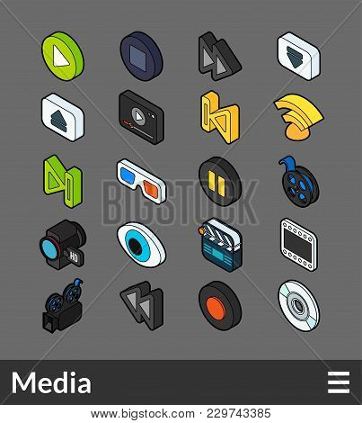 Isometric Outline Color Icons, 3d Pictograms Vector Set - Media Symbol Collection