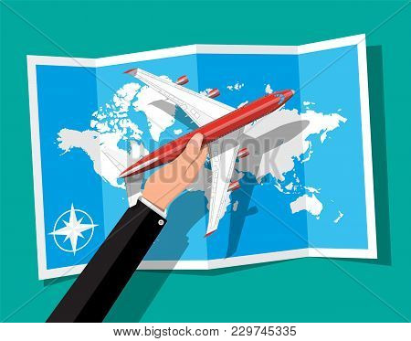 Airplane Top View. Passenger Or Commercial Jet In Hand. Paper World Map. Aircrfat In Flat Style. Jou