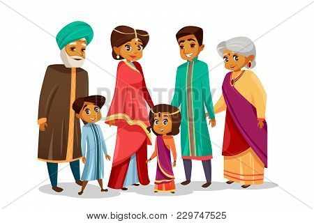 Vector Cartoon Indian Family Characters Set. Happy Hindu Senior Man, Woman, Parents, Father And Moth