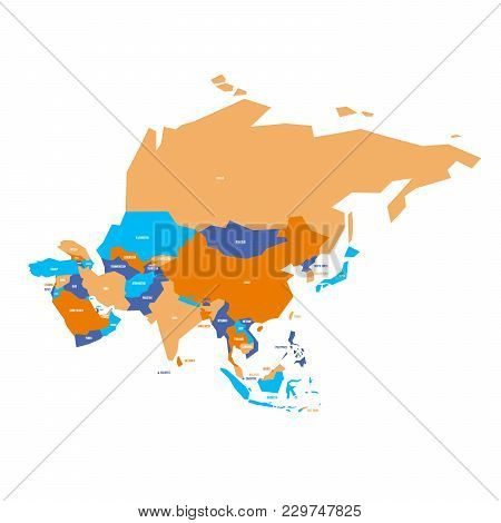 Very Simplified Infographical Political Map Of Asia. Simple Geometric Vector Illustration.