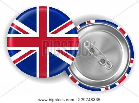 3d Real England United Kingdom Flag Brooch Vector