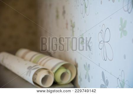 Two Rolls Of Wallpaper Lie Against
