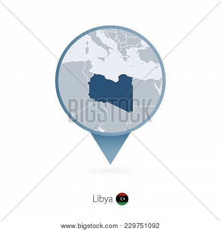 Map Pin With Detailed Map Of Libya And Neighboring Countries.