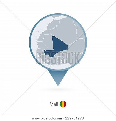 Map Pin With Detailed Map Of Mali And Neighboring Countries.