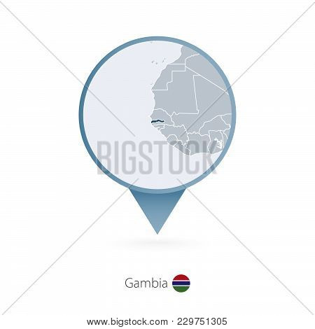 Map Pin With Detailed Map Of Gambia And Neighboring Countries.
