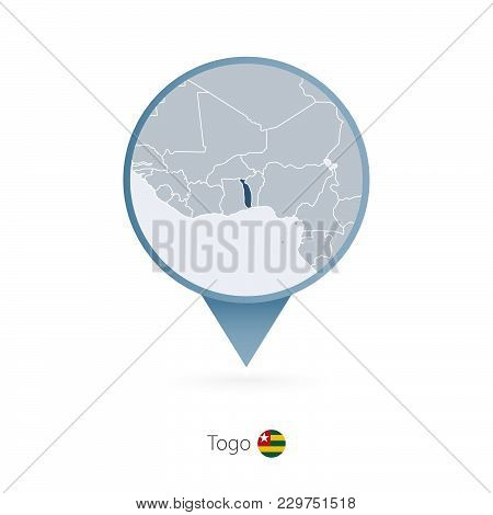 Map Pin With Detailed Map Of Togo And Neighboring Countries.