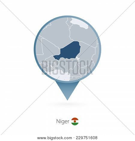 Map Pin With Detailed Map Of Niger And Neighboring Countries.