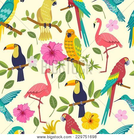 Seamless Pattern With Macaw, Toucan, Flamingo, Tropical Leaves And Flowers On White Background