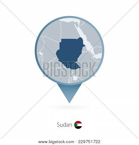 Map Pin With Detailed Map Of Sudan And Neighboring Countries.