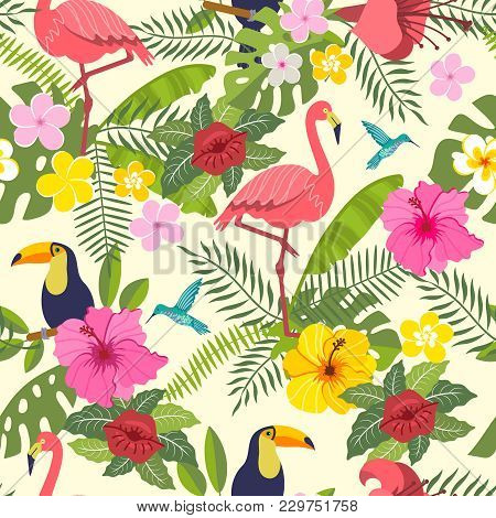 Seamless Pattern With Toucan, Flamingo, Tropical Leaves And Flowers On Background