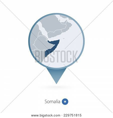 Map Pin With Detailed Map Of Somalia And Neighboring Countries.