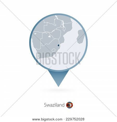 Map Pin With Detailed Map Of Swaziland And Neighboring Countries.