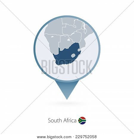 Map Pin With Detailed Map Of South Africa And Neighboring Countries.