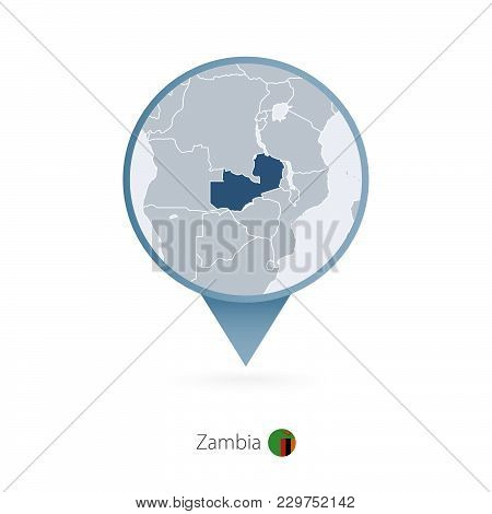 Map Pin With Detailed Map Of Zambia And Neighboring Countries.