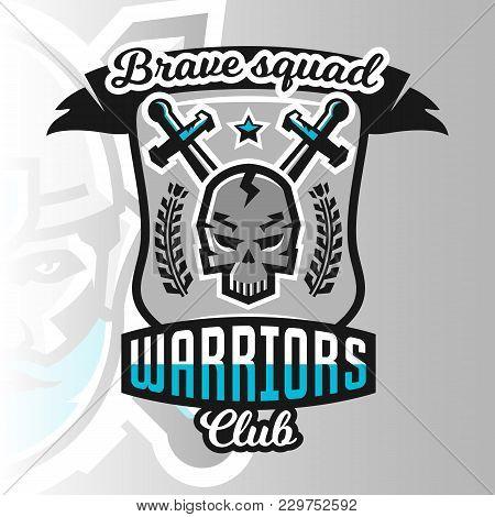Colorful Logo, Emblem, Skull Warrior On The Background Of Two Crossed Swords. Vector Illustration, P