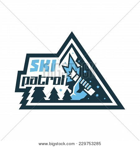 Logo Ski Patrol. The Emblem Etiquette Icon. In His Hand A Burning Beacon. Help In An Emergency. Wint