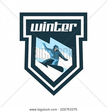 Logo For Winter Sports. Label, Stamp. Snowboarder Descends A Slope, Snow Lava Mountain. Sports Lifes