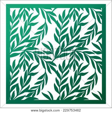 Laser Cutting Square Panel. Openwork Natural Pattern With Branches And Leaves. Vector Design Templat