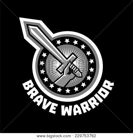 Logo Brave Warriors. A Hand Holding A Sword. The Circle Is Surrounded By Asterisks. Black And White