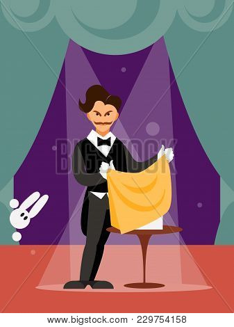 Circus Magician Performing On The Stage. Humorous Vector Illustration