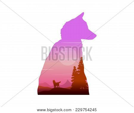 Silhouette Of Wolf At Sunrise Landscape Vector Illustration