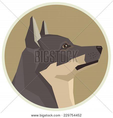 Dog Collection Swedish Vallhund Geometric Style Avatar Icon Round Set