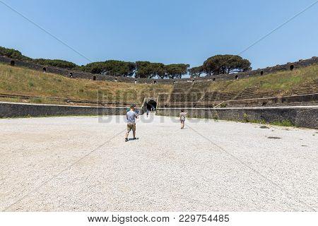 Pompeii, Italy - June 15, 2017: The Oldest Surviving Roman Amphitheatre In Ancient City Of Pompeii,
