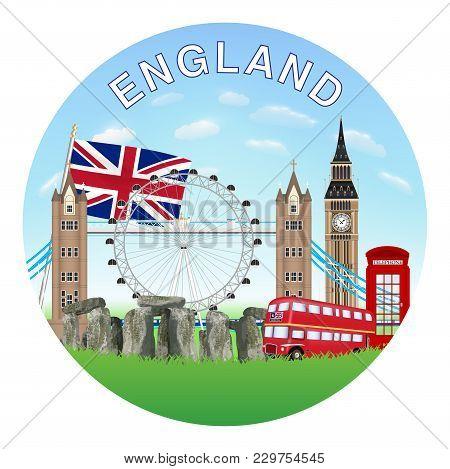 England Circle Logo With England Landmark Vector