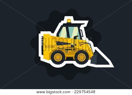 Mini Loader. Yellow, Flat Style. Commercial Vehicles. Special Equipment. The Object Circled White Ou