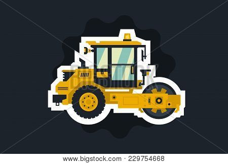 Yellow Asphalt Compactor. The Object Circled White Outline On A Dark Background. Construction Machin