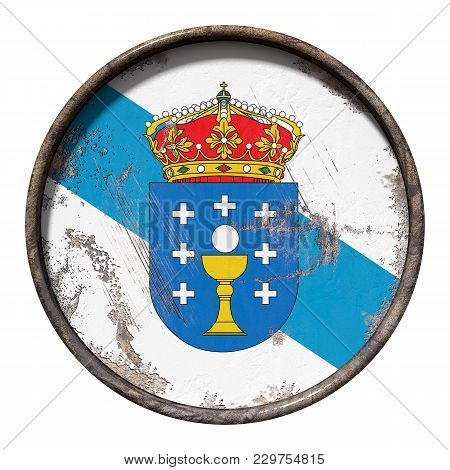 3d Rendering Of A Galicia Community Flag Over A Rusty Metallic Plate. Isolated On White Background.