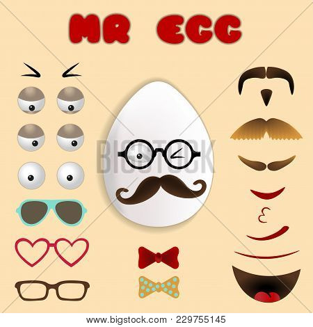 Easter Egg Emoji Constructor. Face With Mustache And Glasses. Vector Funny Illustration Sticker Set