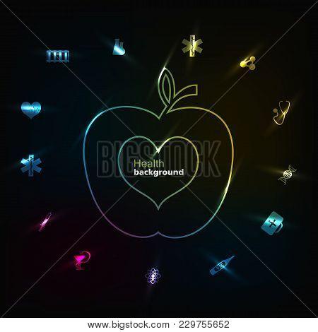 Medicine Black Background With Health Medical Symbols Apple And Heart Flat Vector Illustration