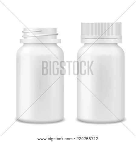Realistic Vector Blank Medicine Opened And Closed Medical Plastic Bottle With Tablets Pills, Tablets